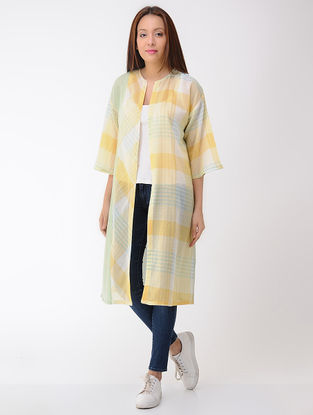 Yellow-Green Front-open Cotton Jacket