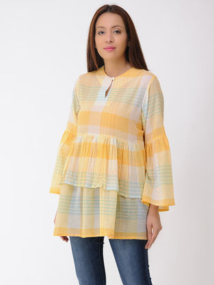 Yellow-Ivory Cotton Top with Gathers
