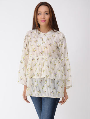 Ivory-Green Printed Cotton Top with Gathers
