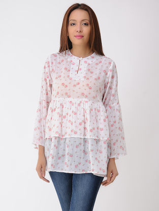 Ivory-Pink Printed Cotton Top with Gathers