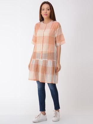 Orange-Ivory Cotton Tunic with Gathers