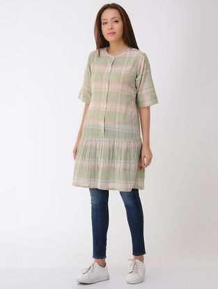 Green-Pink Cotton Tunic with Gathers