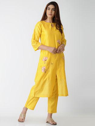 Yellow Embroidered Chanderi Kurta with Pants (Set of 2)