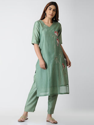 Green Embroidered Chanderi Kurta with Pants (Set of 2)