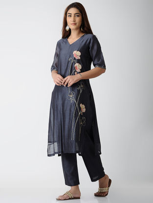Blue Embroidered Chanderi Kurta with Pants (Set of 2)