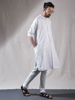 White Cotton Full Sleeve Kurta