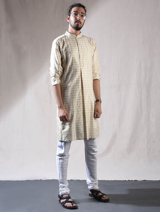 Off White Silk Full Sleeve Kurta