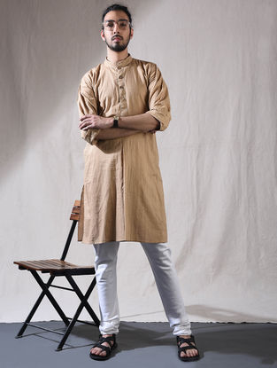Beige Cotton Full Sleeve Kurta