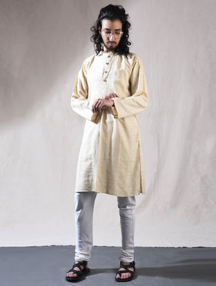 Off White Cotton Full Sleeve Kurta