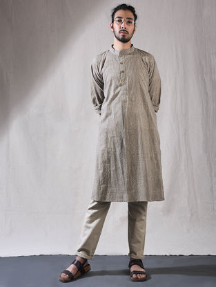 Grey Ajrak Cotton Full Sleeve Kurta