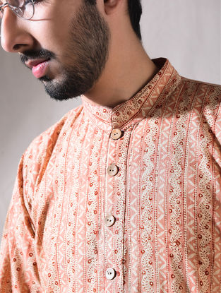 Peach Ajrak Cotton Full Sleeve Kurta