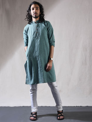 Blue Cotton Full Sleeve Kurta