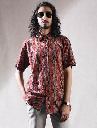 Maroon Block-printed Cotton Half Sleeve Shirt