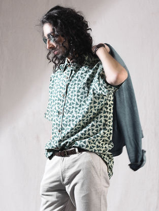 Green Block-printed Cotton Half Sleeve Shirt
