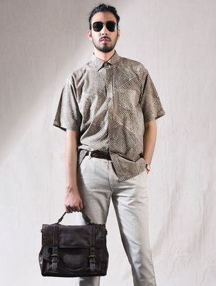 Grey Block-printed Cotton Half Sleeve Shirt