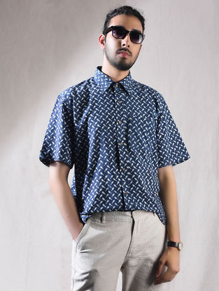 Indigo Block-printed Cotton Half Sleeve Shirt