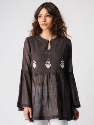 Brown Gathered Cotton Top with Embroidery