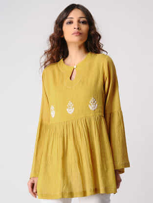 Mustard Gathered Cotton Top with Embroidery