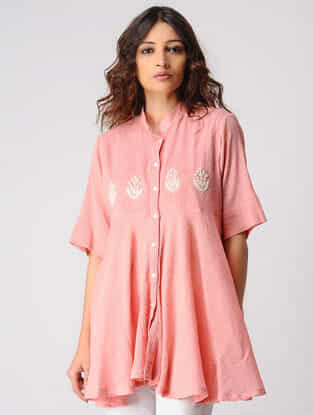 Pink Button Down Cotton Top with Embroidery