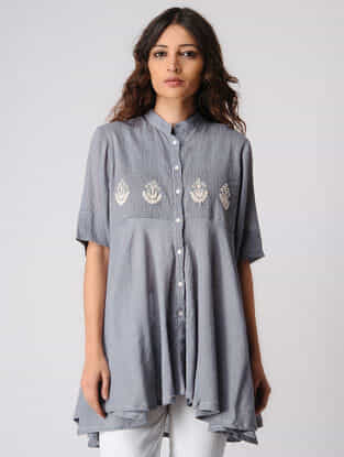 Grey Button Down Cotton Top with Embroidery