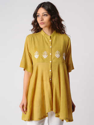 Mustard Button Down Cotton Top with Embroidery