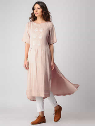 Beige Embroidered Cotton Kurta with Asymmetrical Hem
