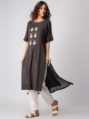 Brown Embroidered Cotton Kurta with Asymmetrical Hem