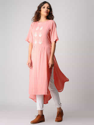 Pink Embroidered Cotton Kurta with Asymmetrical Hem
