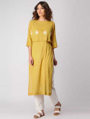Mustard Layered Cotton Kurta wih Embroidery