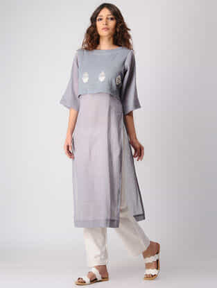 Grey Layered Cotton Kurta wih Embroidery