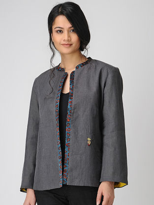 Grey Tussar-Mashru Jacket with Ajrakh-printed Detail