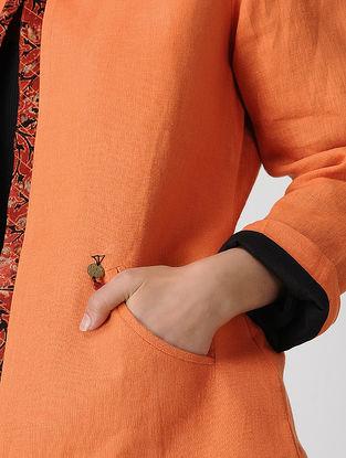 Orange Linen-Mashru Jacket with Ajrakh-printed Detail