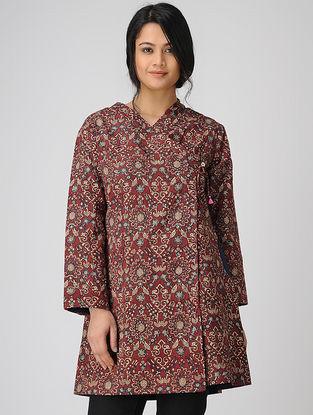 Red Quilted Kalamkari Cotton Jacket