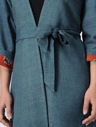 Blue Ajrakh-printed Silk Noil Jacket