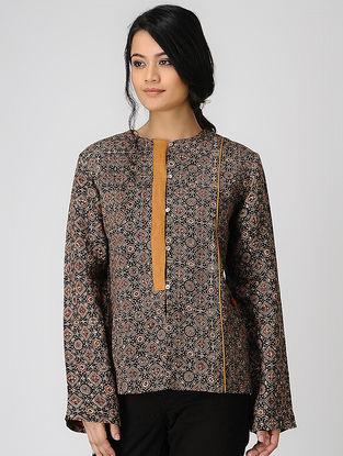 Black Ajrakh-printed Linen Jacket