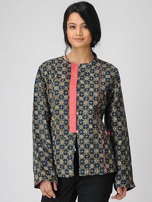 Indigo Ajrakh-printed Linen Jacket