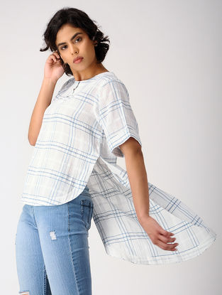 Ivory-Blue Checkered Cotton Top