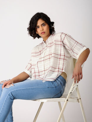 Ivory-Maroon Checkered Cotton Top
