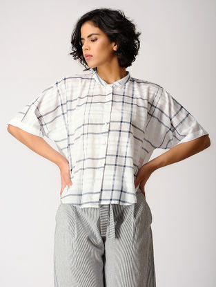 Ivory-Grey Checkered Cotton Top