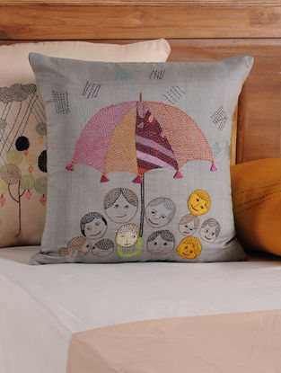 Grey Kantha Cushion Cover 16in X 16in