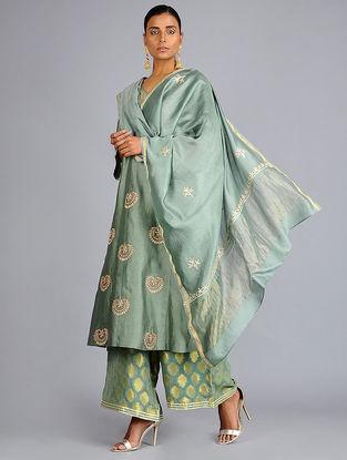 Green Gota Embroidered Chanderi Dupatta