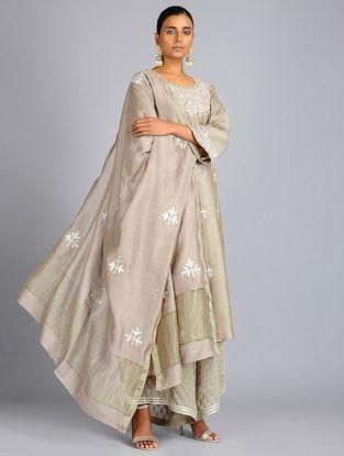 Beige Gota Embroidered Chanderi Dupatta