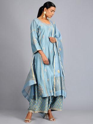 Blue Gota Embroidered Chanderi Dupatta