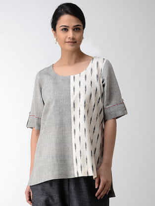 Grey-Ivory Ikat Khadi Cotton Top