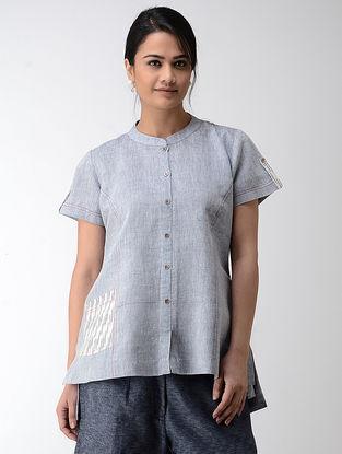 Blue-Ivory Ikat Khadi Cotton Top