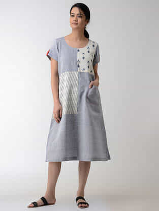 Blue-Ivory Ikat Khadi Cotton Dress