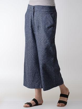 Blue Elasticated-waist Cotton Pants