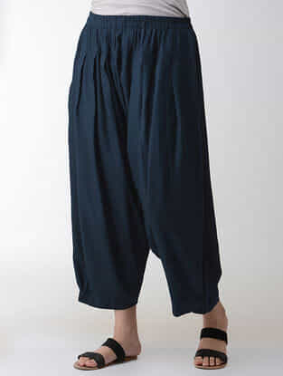 Indigo Elasticated-waist Cotton Rayon Salwar