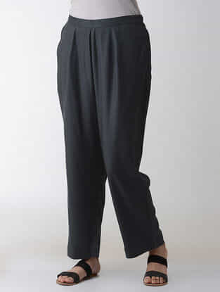 Grey Elasticated-waist Cotton Rayon Pants