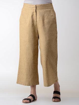Beige Elasticated-waist Cotton Pants